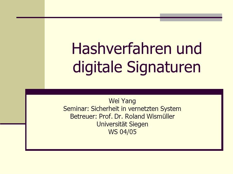 Hashverfahren und digitale Signaturen