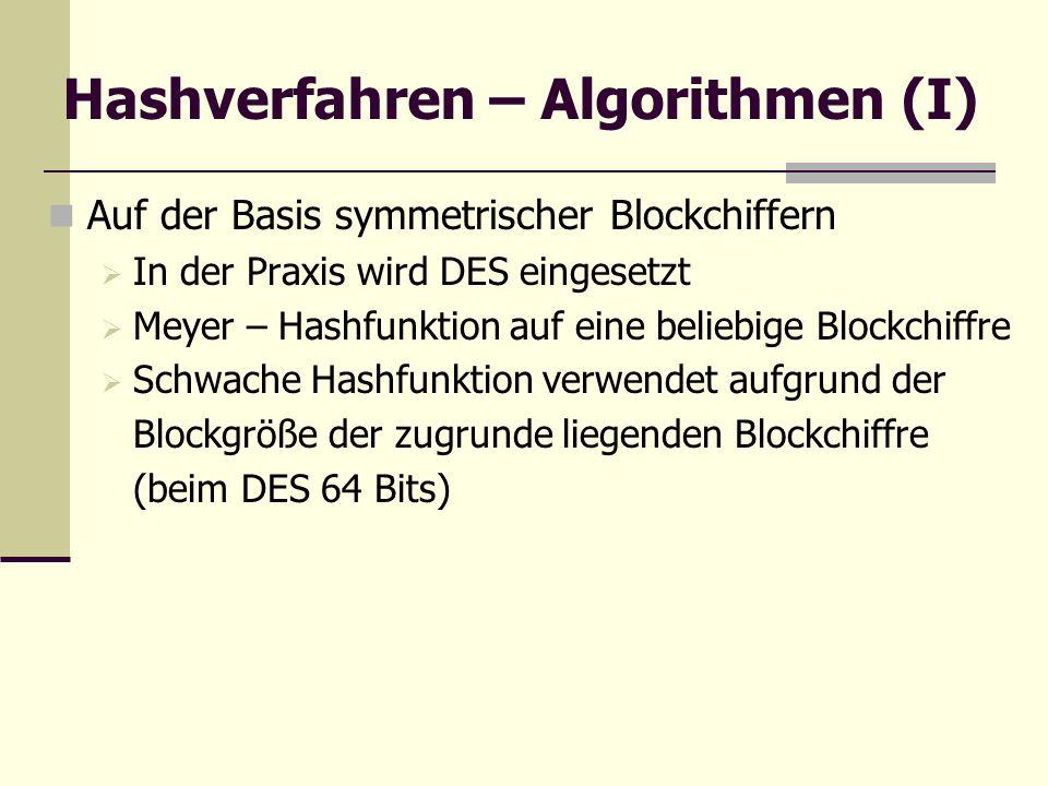 Hashverfahren – Algorithmen (I)