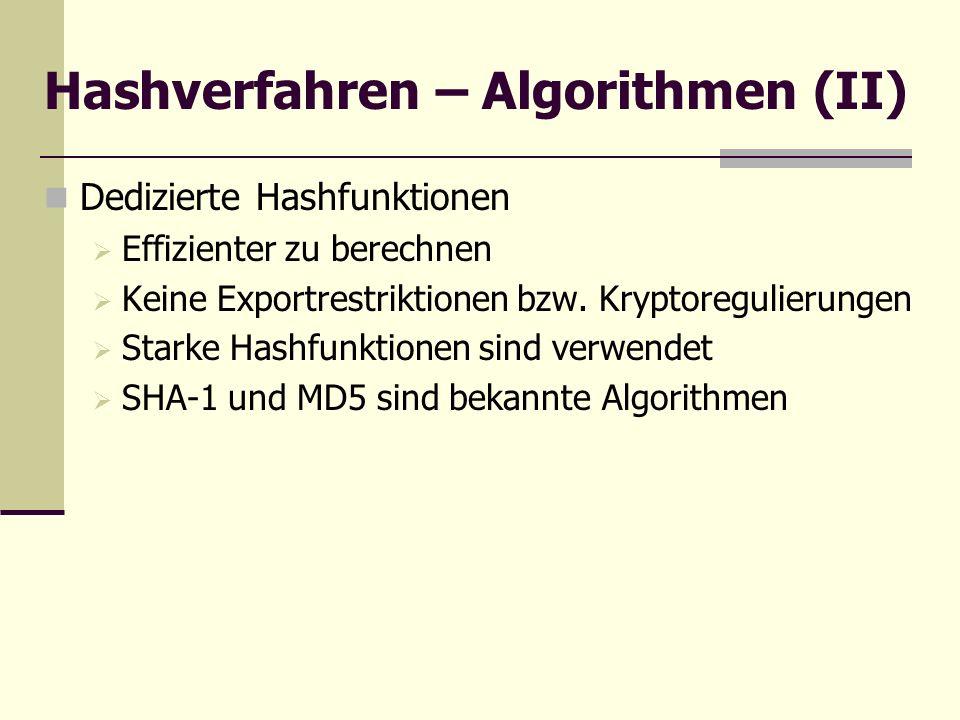 Hashverfahren – Algorithmen (II)