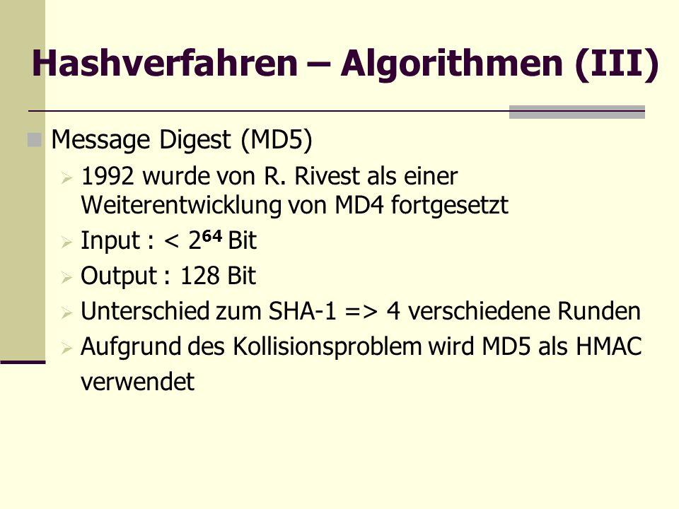 Hashverfahren – Algorithmen (III)