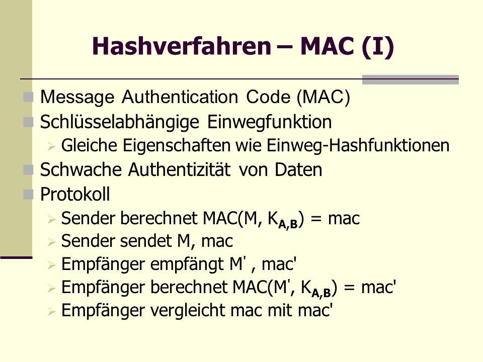 Hashverfahren – MAC (I)