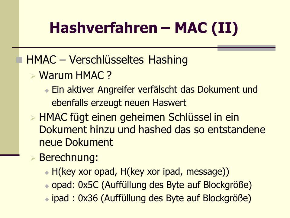 Hashverfahren – MAC (II)