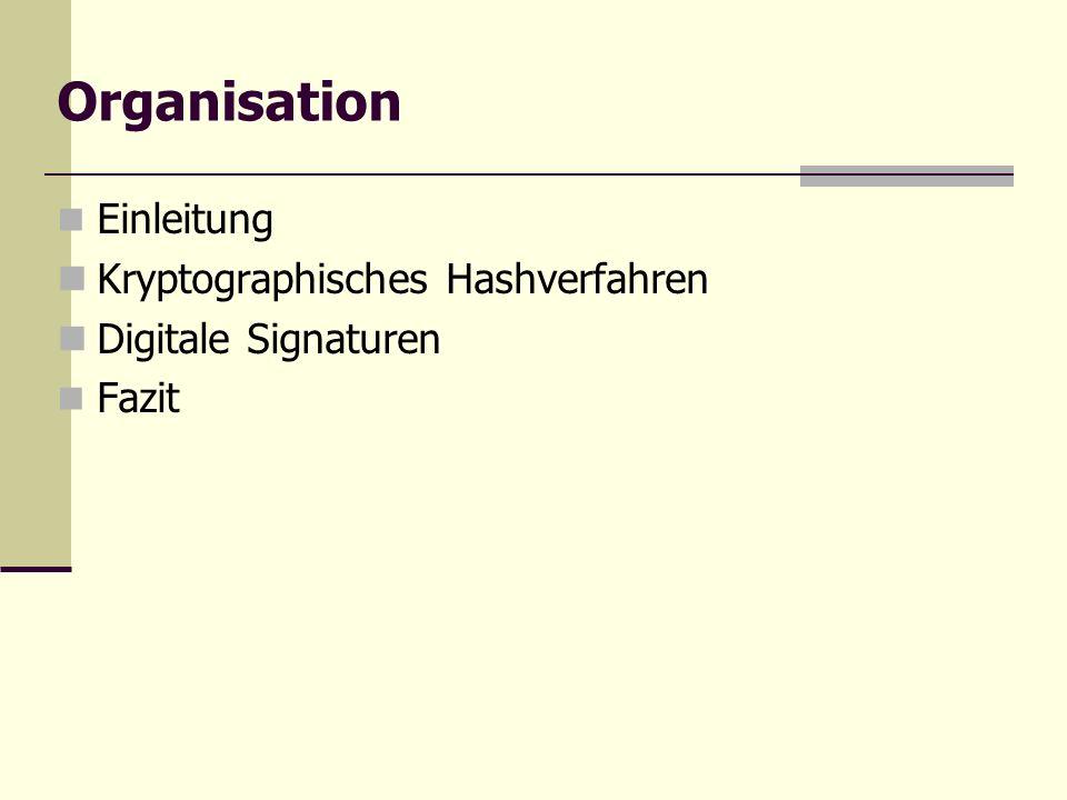 Organisation Einleitung Kryptographisches Hashverfahren