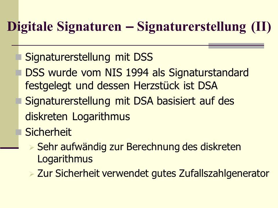 Digitale Signaturen – Signaturerstellung (II)