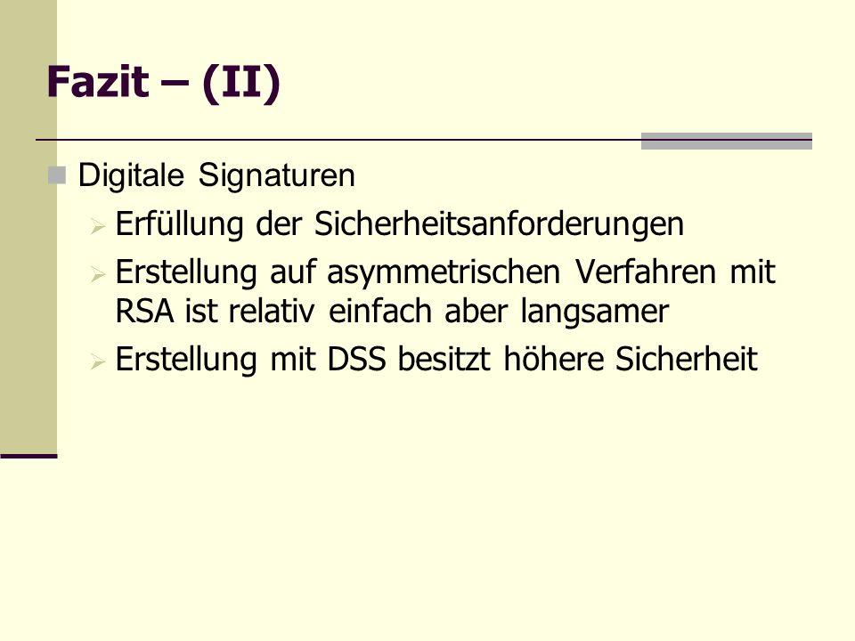 Fazit – (II) Digitale Signaturen