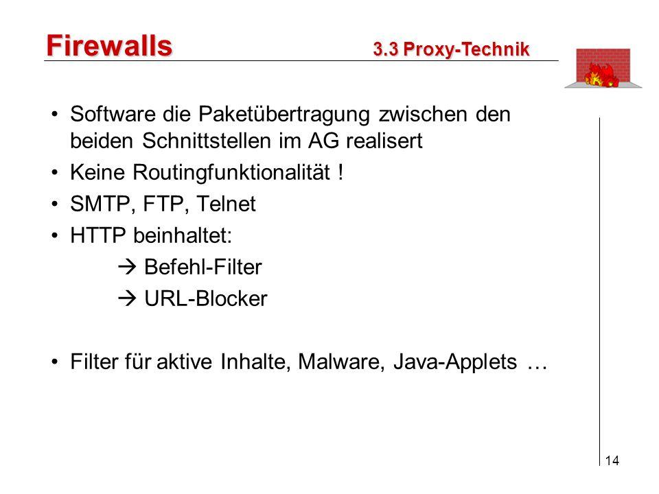 Firewalls 3.3 Proxy-Technik. Software die Paketübertragung zwischen den beiden Schnittstellen im AG realisert.