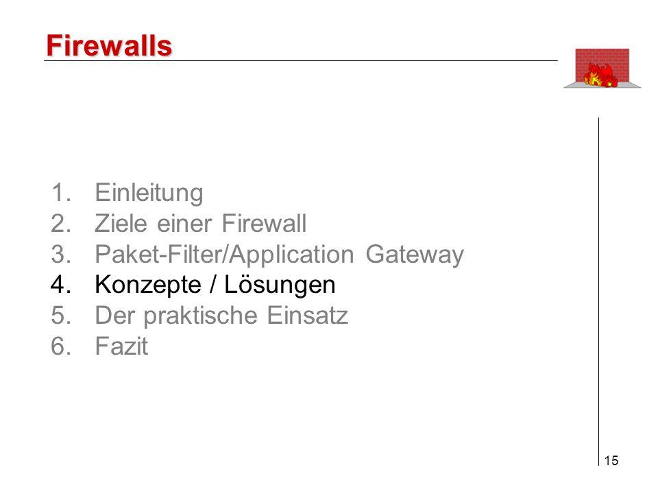 Firewalls Einleitung Ziele einer Firewall