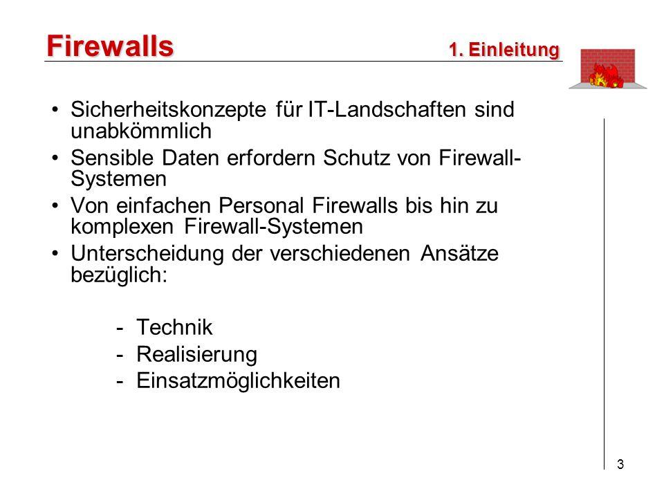 Firewalls Sicherheitskonzepte für IT-Landschaften sind unabkömmlich