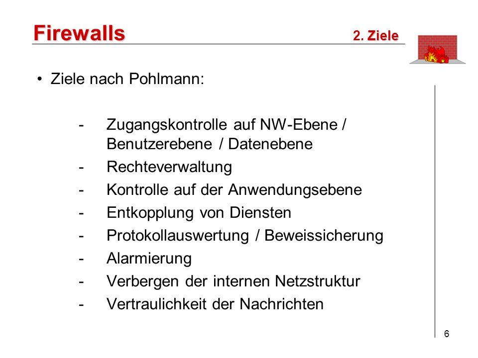 Firewalls Ziele nach Pohlmann: