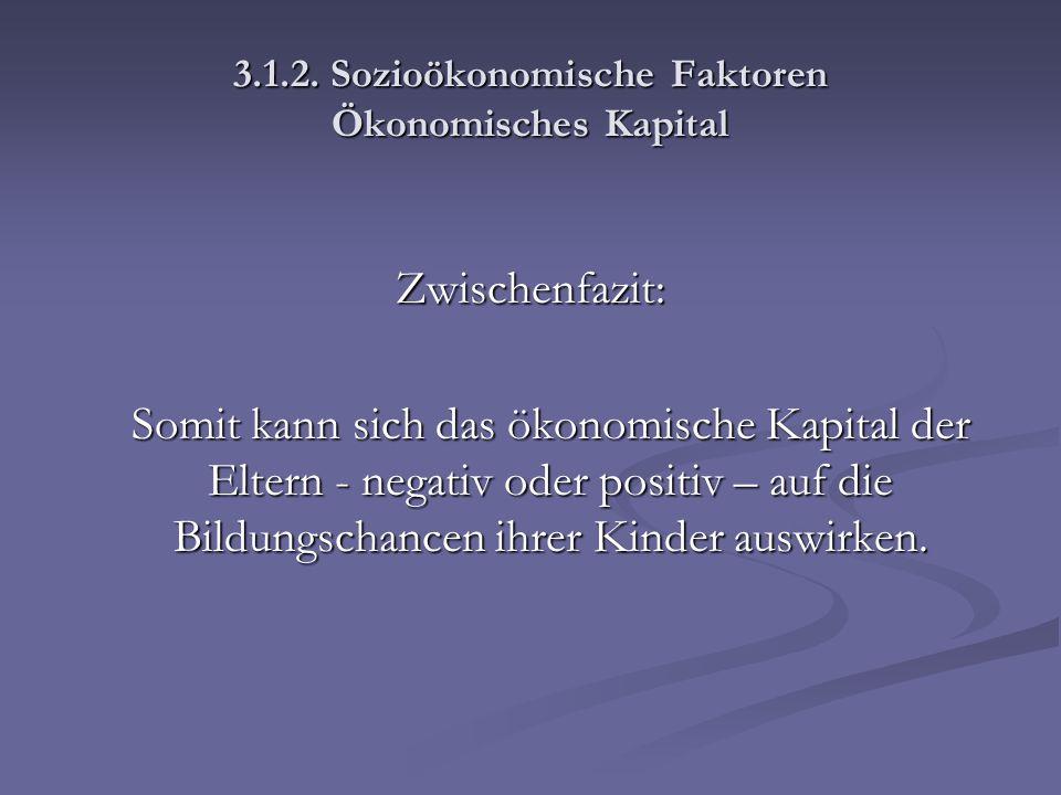 3.1.2. Sozioökonomische Faktoren Ökonomisches Kapital