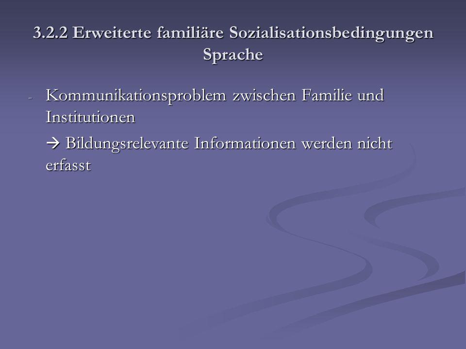 3.2.2 Erweiterte familiäre Sozialisationsbedingungen Sprache