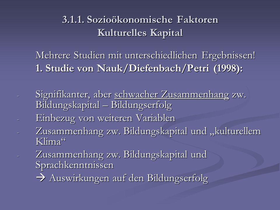 3.1.1. Sozioökonomische Faktoren Kulturelles Kapital