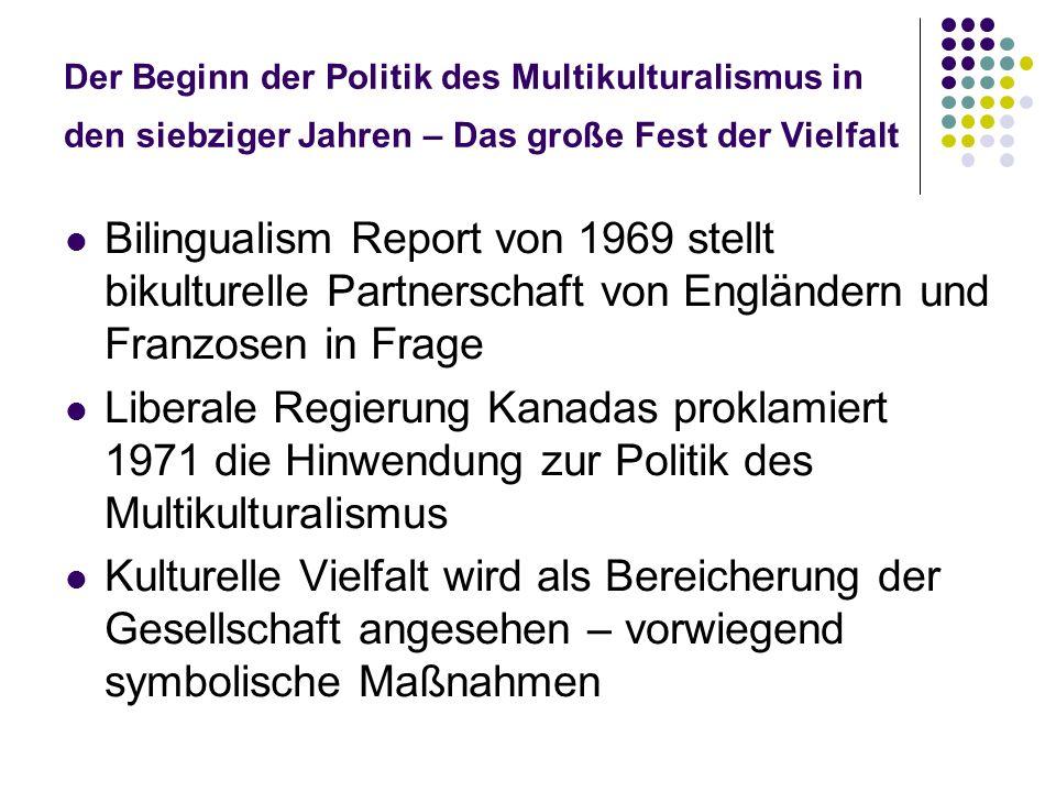 Der Beginn der Politik des Multikulturalismus in den siebziger Jahren – Das große Fest der Vielfalt