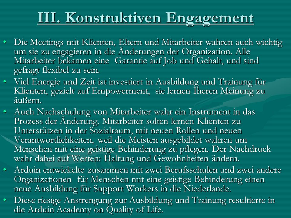 III. Konstruktiven Engagement
