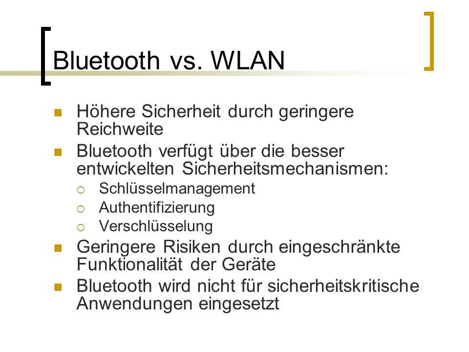 Bluetooth vs. WLAN Höhere Sicherheit durch geringere Reichweite
