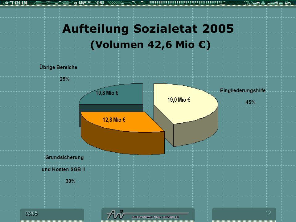 Aufteilung Sozialetat 2005 (Volumen 42,6 Mio €)