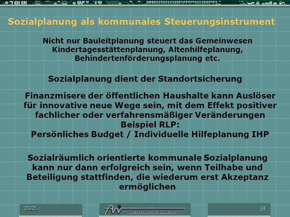 Sozialplanung als kommunales Steuerungsinstrument