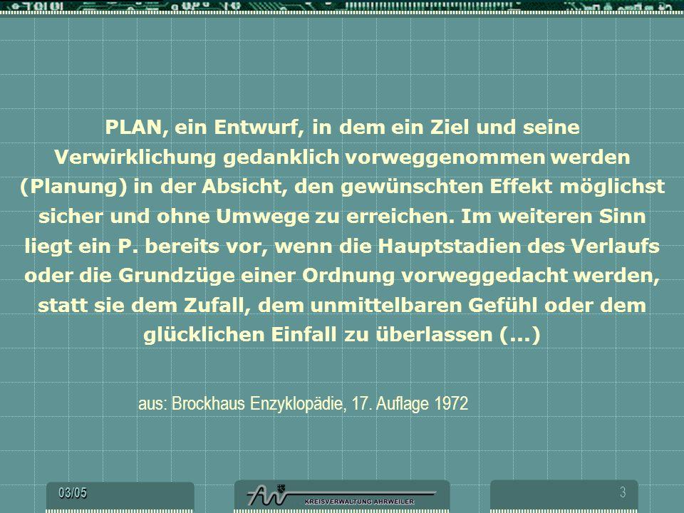 PLAN, ein Entwurf, in dem ein Ziel und seine