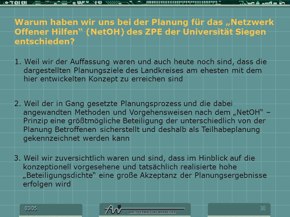 """Warum haben wir uns bei der Planung für das """"Netzwerk Offener Hilfen (NetOH) des ZPE der Universität Siegen entschieden"""