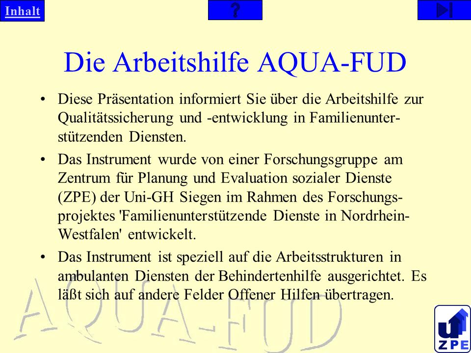 Die Arbeitshilfe AQUA-FUD
