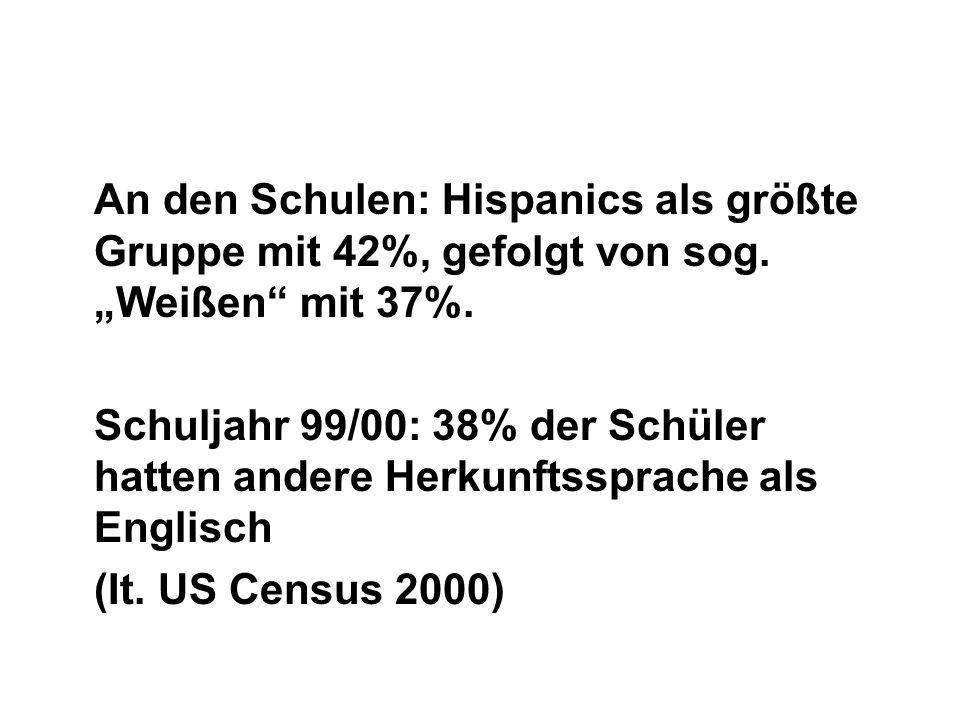An den Schulen: Hispanics als größte Gruppe mit 42%, gefolgt von sog