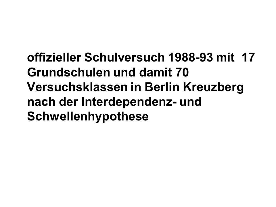 offizieller Schulversuch 1988-93 mit 17 Grundschulen und damit 70 Versuchsklassen in Berlin Kreuzberg nach der Interdependenz- und Schwellenhypothese