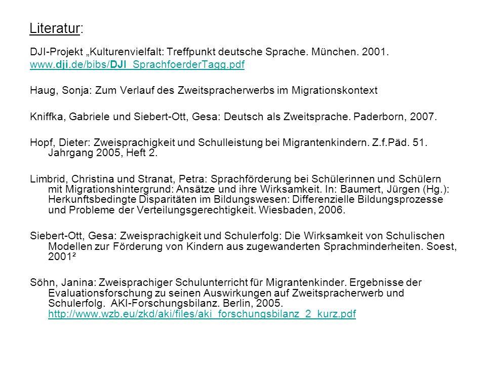 """Literatur: DJI-Projekt """"Kulturenvielfalt: Treffpunkt deutsche Sprache. München. 2001. www.dji.de/bibs/DJI_SprachfoerderTagg.pdf."""