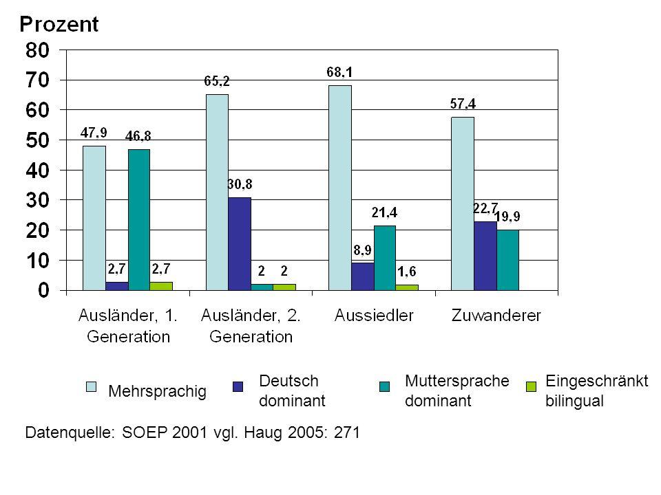 Deutsch dominant Muttersprache dominant. Eingeschränkt bilingual.