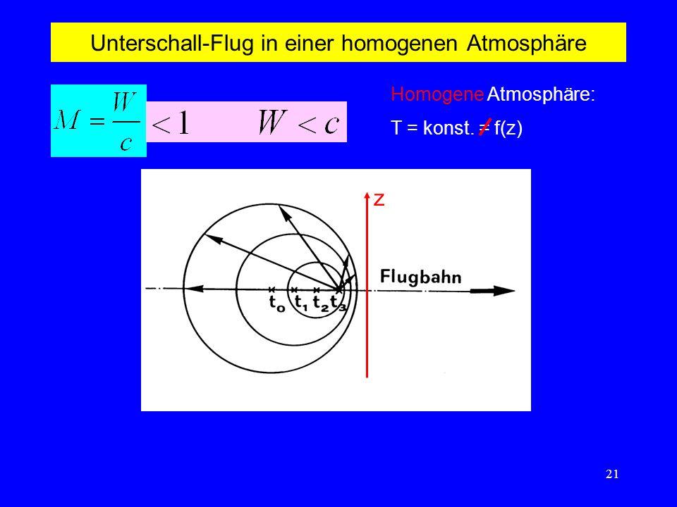 Unterschall-Flug in einer homogenen Atmosphäre