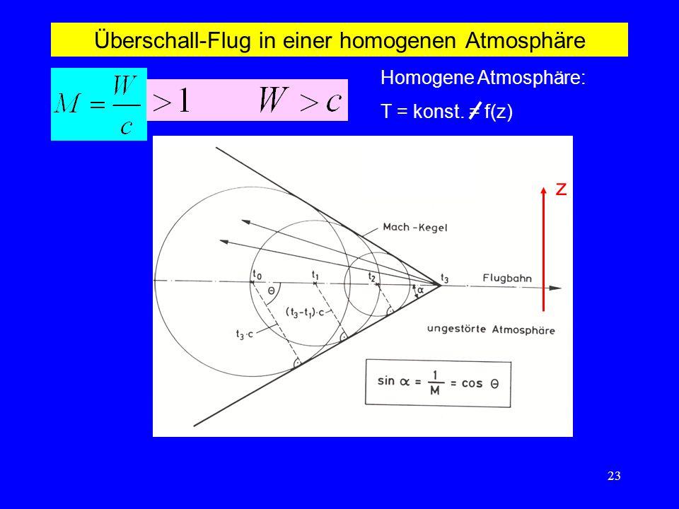 Überschall-Flug in einer homogenen Atmosphäre