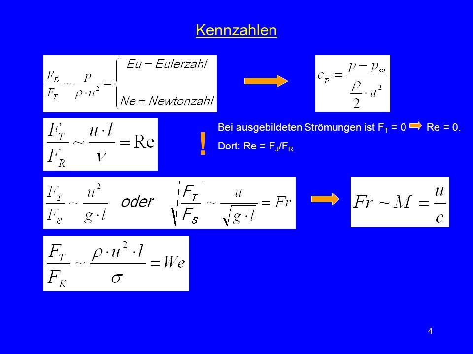 ! Kennzahlen Bei ausgebildeten Strömungen ist FT = 0 Re = 0.