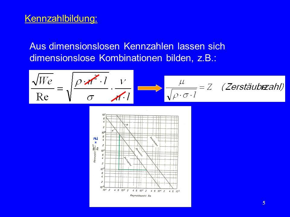 Kennzahlbildung: Aus dimensionslosen Kennzahlen lassen sich dimensionslose Kombinationen bilden, z.B.: