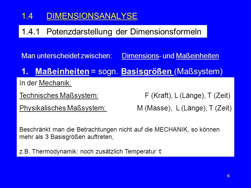 1.4.1 Potenzdarstellung der Dimensionsformeln