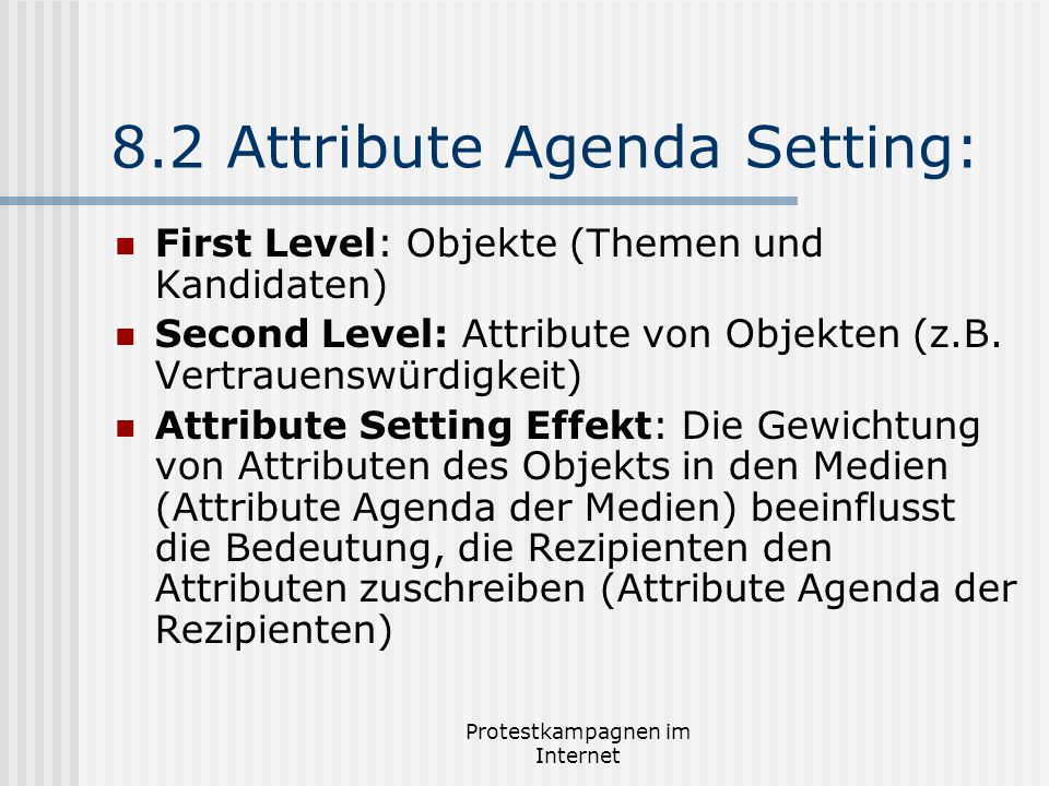 8.2 Attribute Agenda Setting: