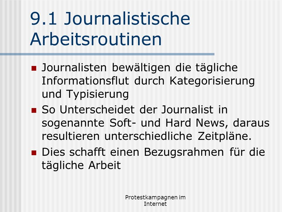 9.1 Journalistische Arbeitsroutinen
