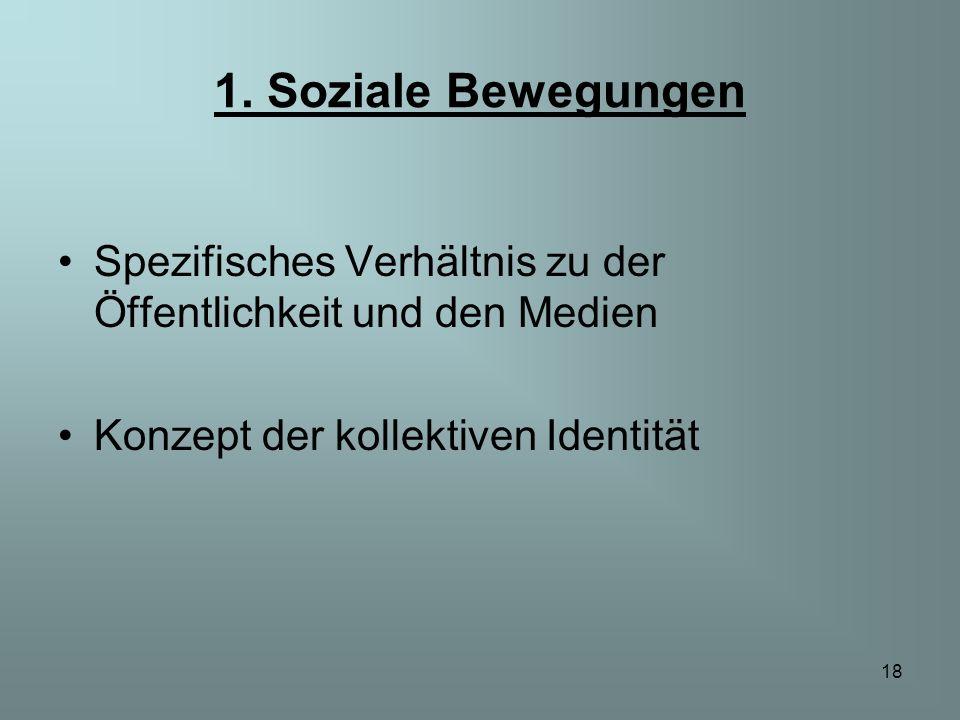 1. Soziale Bewegungen Spezifisches Verhältnis zu der Öffentlichkeit und den Medien.