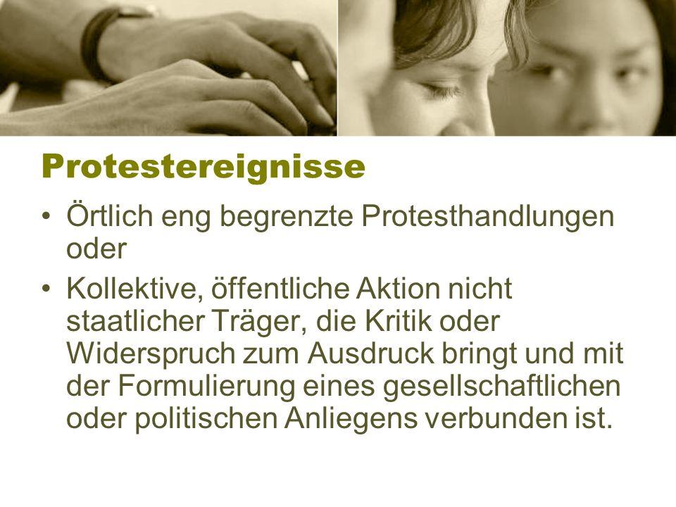 Protestereignisse Örtlich eng begrenzte Protesthandlungen oder