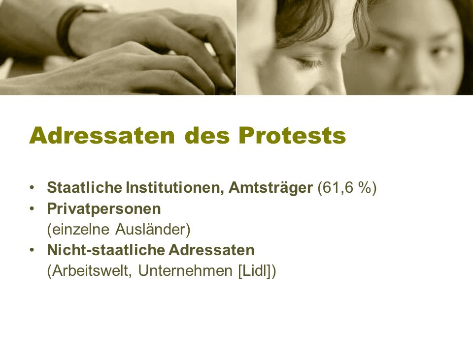 Adressaten des Protests
