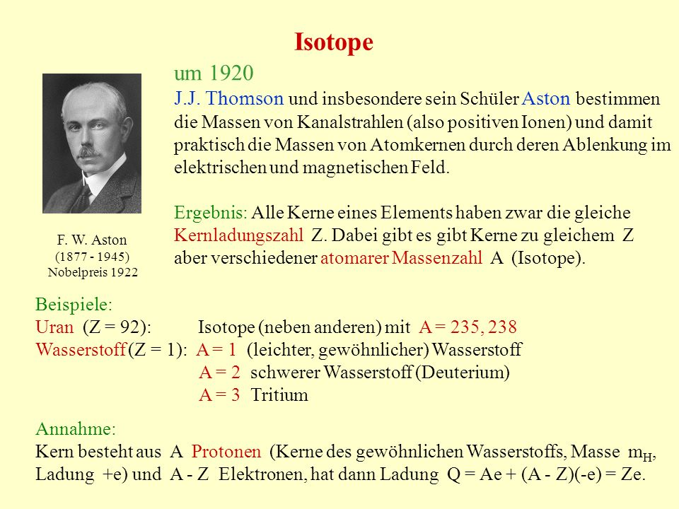 Isotope um 1920.