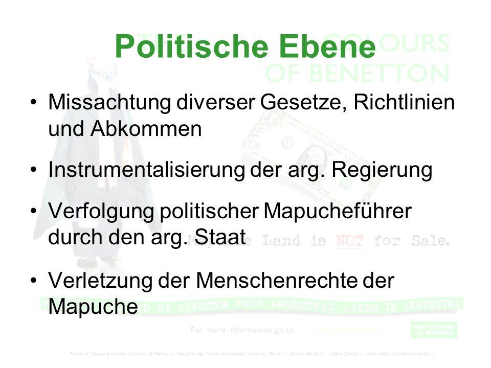 Politische Ebene Missachtung diverser Gesetze, Richtlinien und Abkommen. Instrumentalisierung der arg. Regierung.