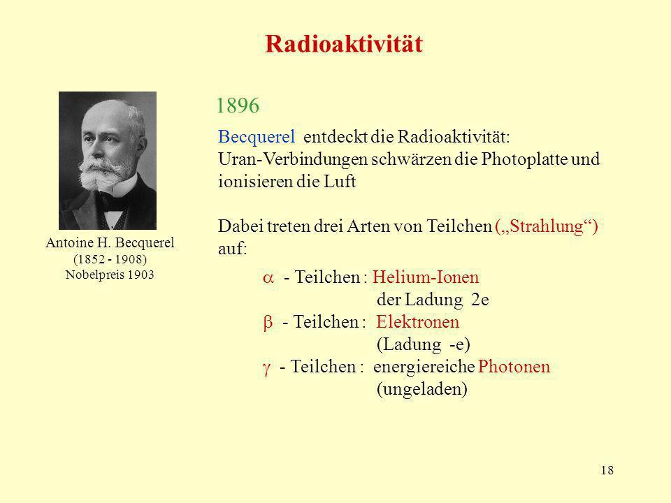 Radioaktivität 1896 Becquerel entdeckt die Radioaktivität: