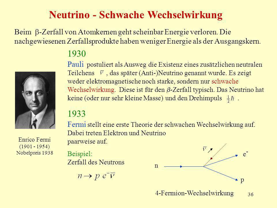 Neutrino - Schwache Wechselwirkung