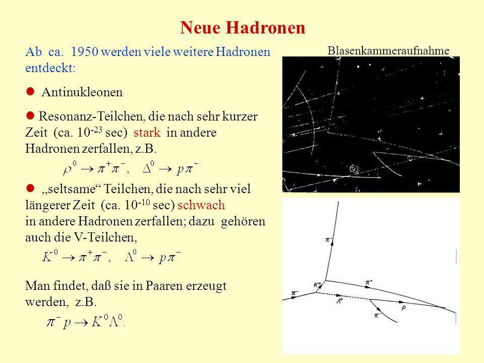 Neue Hadronen Ab ca. 1950 werden viele weitere Hadronen entdeckt: