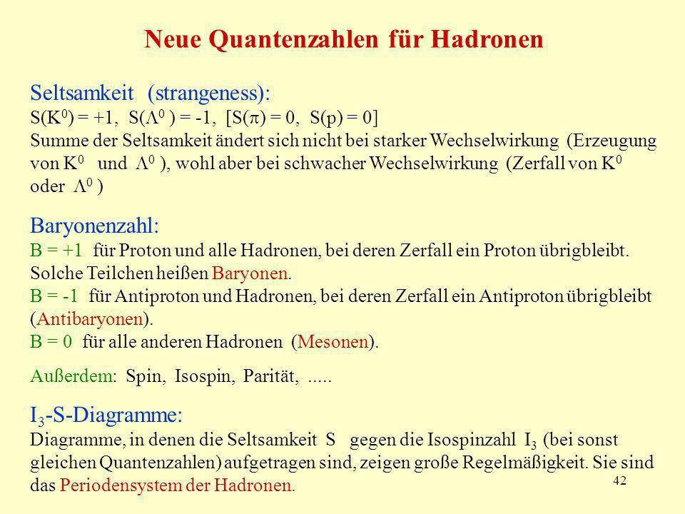 Neue Quantenzahlen für Hadronen