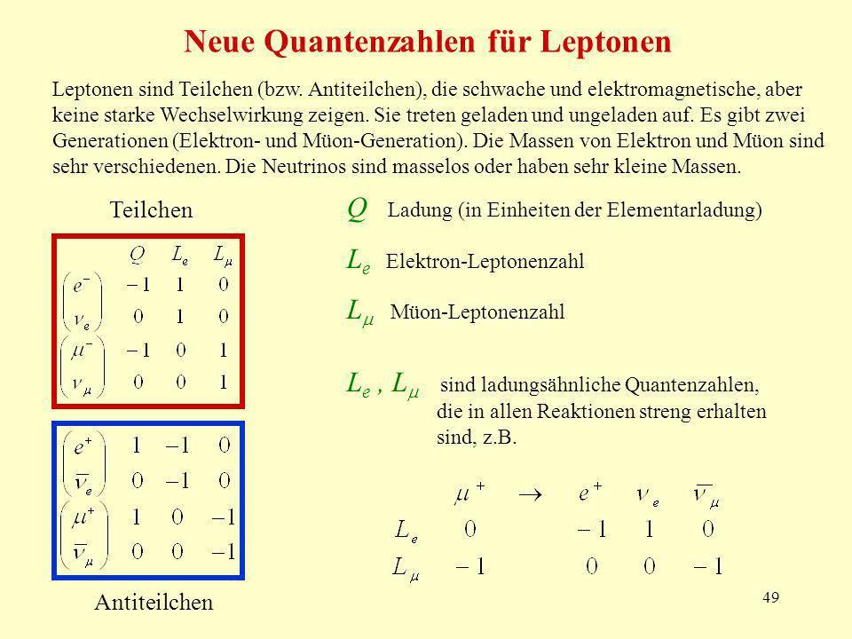 Neue Quantenzahlen für Leptonen