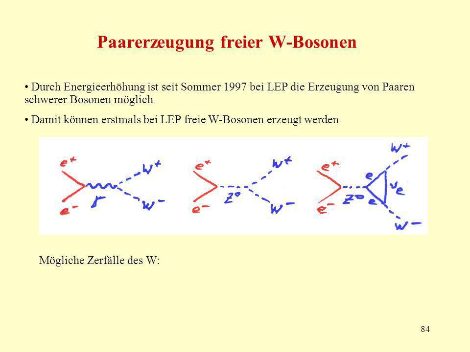 Paarerzeugung freier W-Bosonen