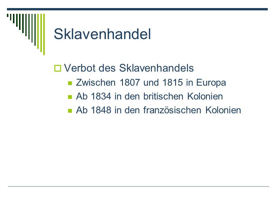 Sklavenhandel Verbot des Sklavenhandels