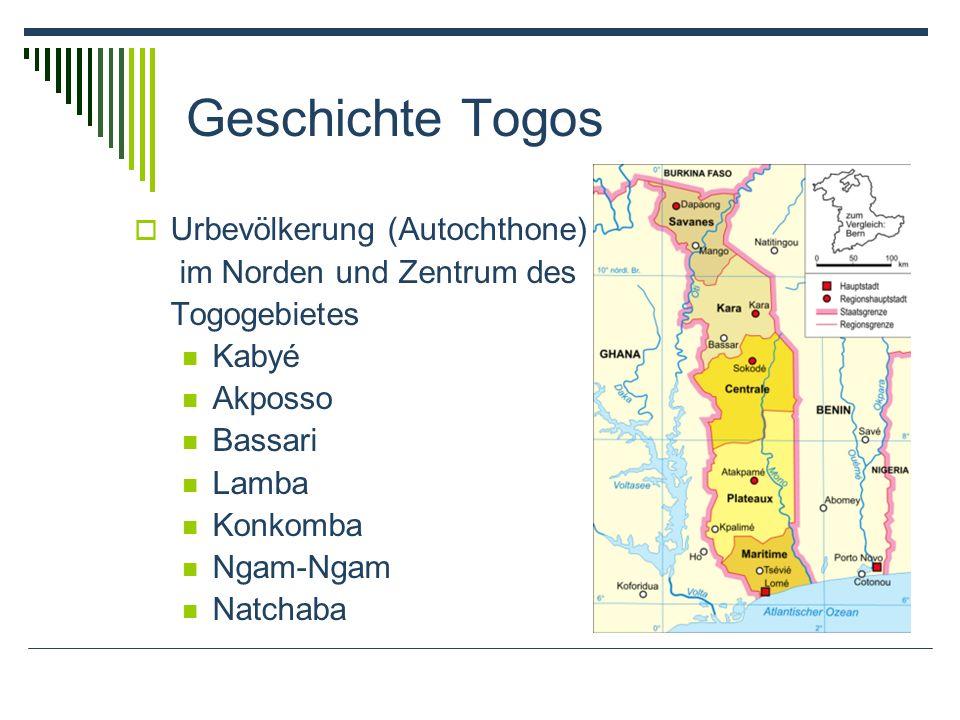 Geschichte Togos Urbevölkerung (Autochthone) im Norden und Zentrum des