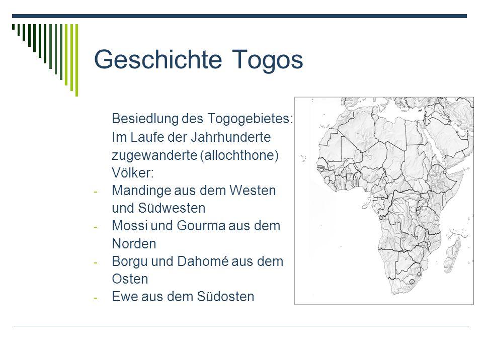 Geschichte Togos Besiedlung des Togogebietes:
