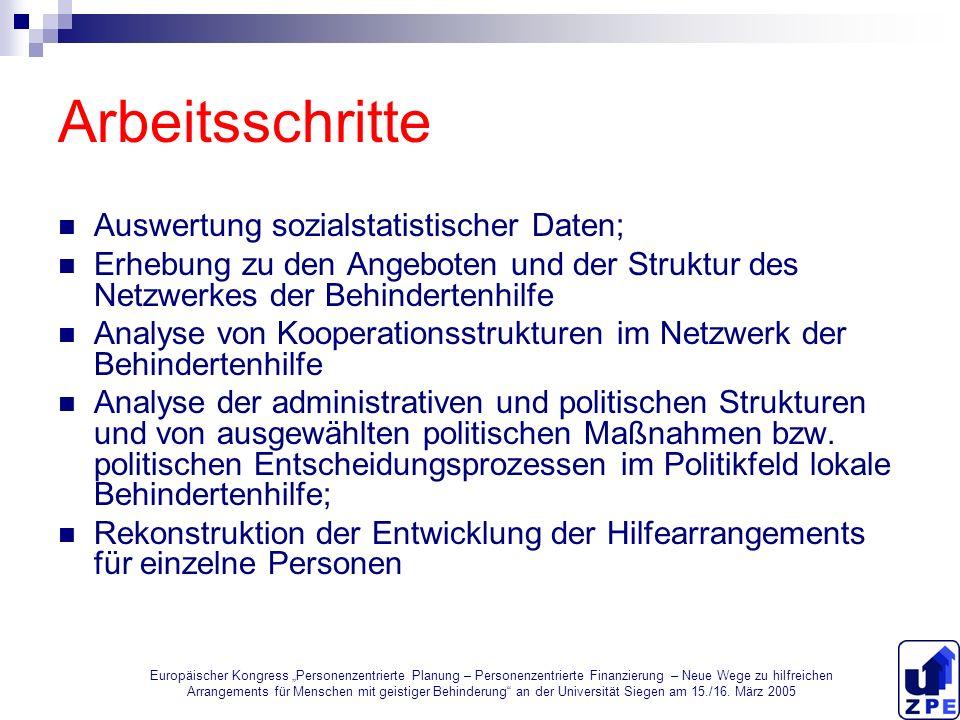 Arbeitsschritte Auswertung sozialstatistischer Daten;